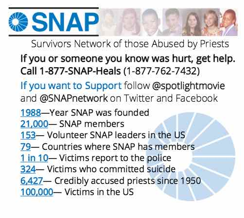 Survivors Network of those abused by Priests flyer for Spotlight film