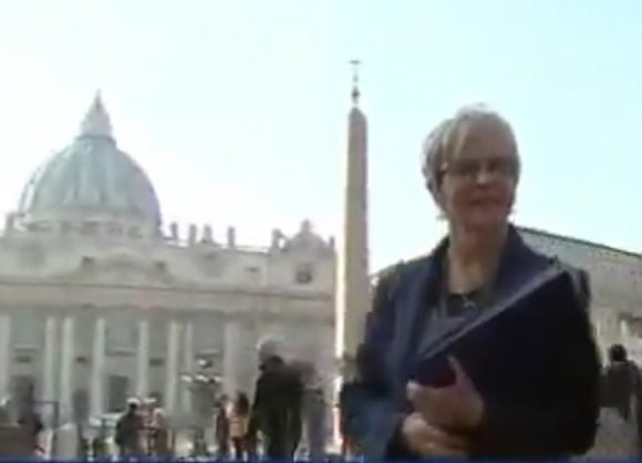Still image from TV interview - Mary Dispenza in front of St Peter's Basillica attending the Vatican Sexual Abuse Summit.