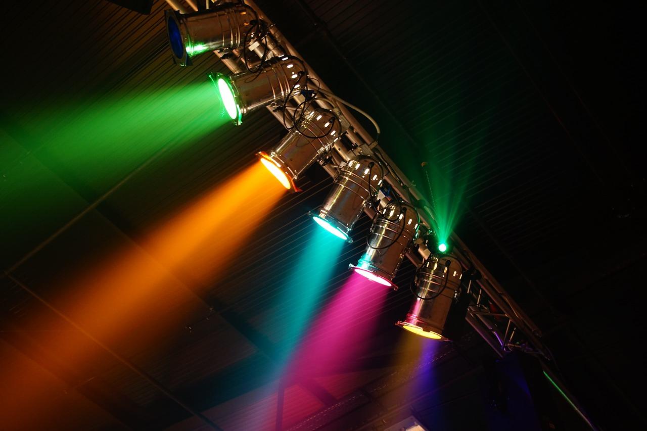 multicolored spotlights academy awards